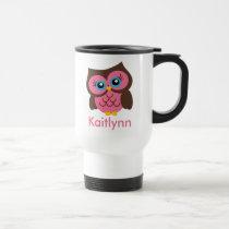Cute Pink Owl Personalized Travel Mug