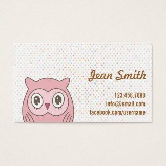 Cute Pink Owl Polka Dots Business Card