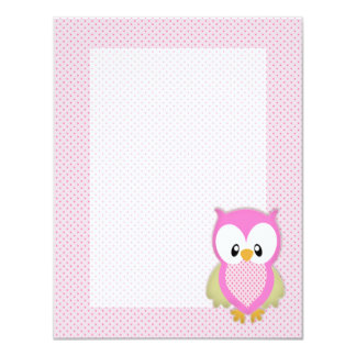 Cute pink owl polka dots pink pattern image print 4.25x5.5 paper invitation card
