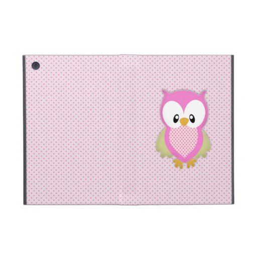 Cute pink owl polka dots pink pattern image print cases for iPad mini