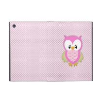 Cute pink owl polka dots pink pattern image print iPad mini case