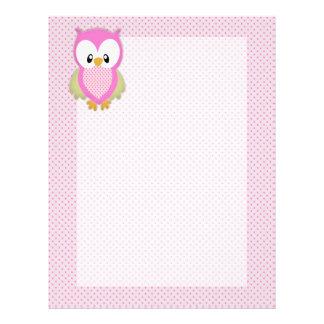 Cute pink owl polka dots pink pattern image print letterhead