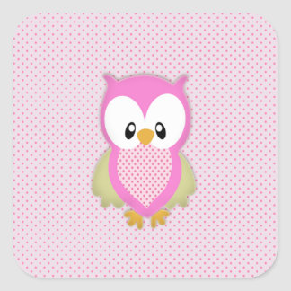 Cute pink owl polka dots pink pattern image print square sticker