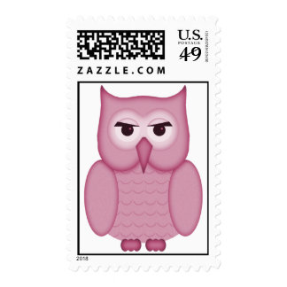 Cute Pink Owl Postage Stamps