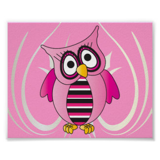 Cute Pink Owl Poster
