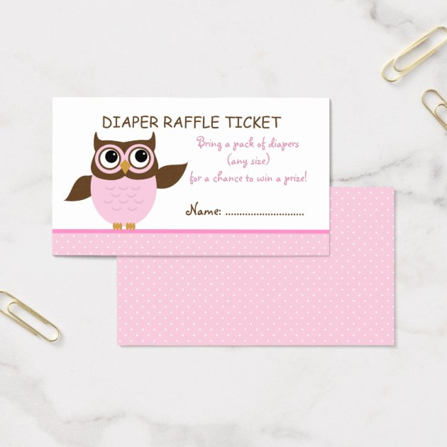 Cute Pink Owl Raffle Ticket Business Card Template