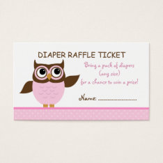 Cute Pink Owl Raffle Ticket Business Card Template at Zazzle