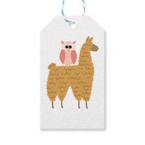 Cute Pink Owl Riding a Llama Gift Tags