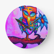 Cute Pink Owl Round Clock