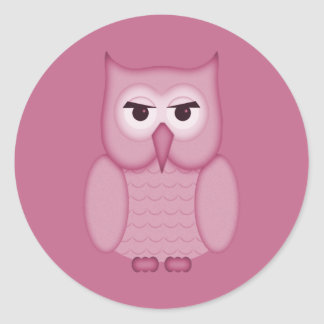 Cute Pink Owl Round Stickers