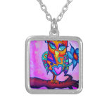 Cute Pink Owl Silver Plated Necklace