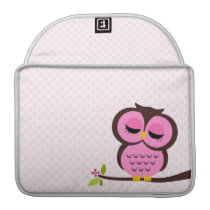 Cute Pink Owl Sleeve For MacBook Pro