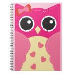 Cute Pink Owl Spiral Note Books