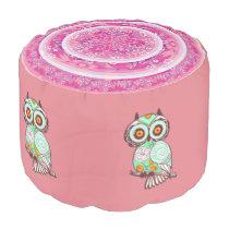 Cute Pink Owl Spun Polyester Round Pouf