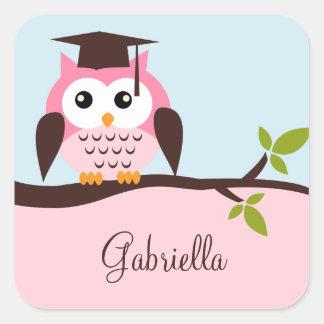 Cute Pink Owl Square Sticker