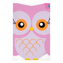 Cute pink owl stationery