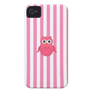 Cute pink owl stripes iPhone 4 Case-Mate case