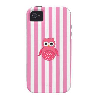 Cute pink owl stripes Case-Mate iPhone 4 case