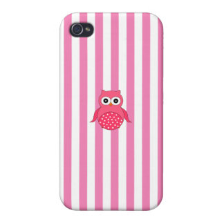 Cute pink owl stripes case for iPhone 4