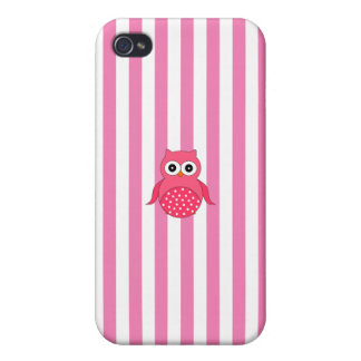 Cute pink owl stripes iPhone 4 covers