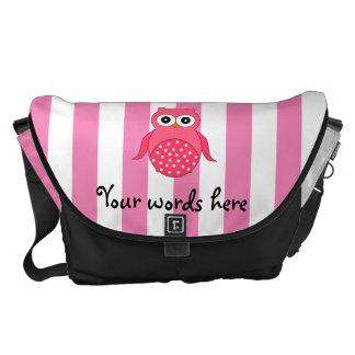 Cute pink owl stripes messenger bag