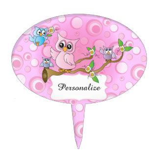 Cute Pink Owl Theme Cake Picks