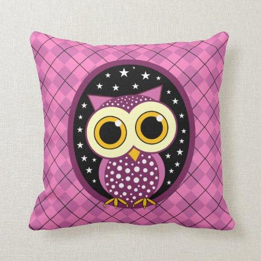 cute pink owl throw pillows