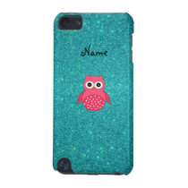 Cute pink owl turquoise glitter iPod touch (5th generation) case
