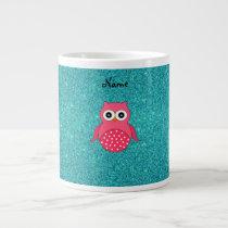 Cute pink owl turquoise glitter large coffee mug