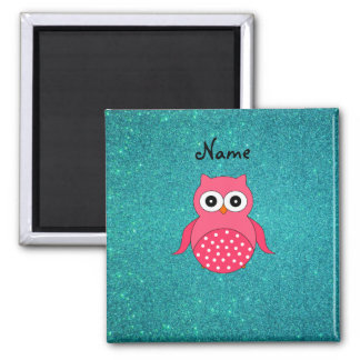 Cute pink owl turquoise glitter magnet