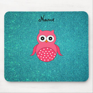 Cute pink owl turquoise glitter mouse pads