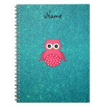 Cute pink owl turquoise glitter note book