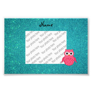 Cute pink owl turquoise glitter photograph