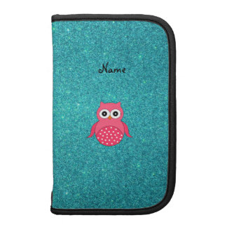 Cute pink owl turquoise glitter organizer