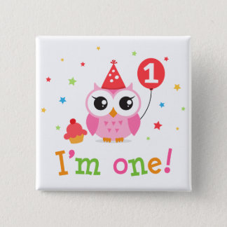Cute, pink owl with balloon and cupcake I am one Pinback Button