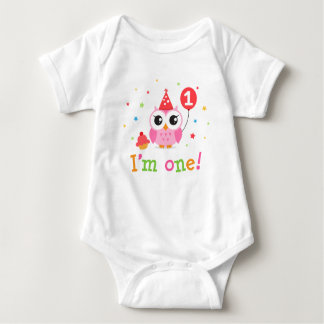 Cute, pink owl with balloon and cupcake I am one Shirts