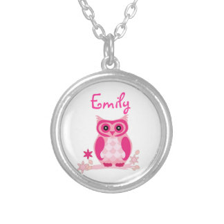 Cute Pink Owl with Custom Name or Monogram Round Pendant Necklace