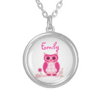 Cute Pink Owl with Custom Name or Monogram Silver Plated Necklace