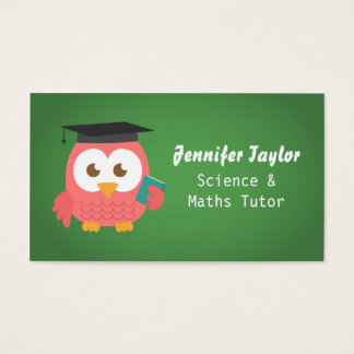 Cute Pink Owl with Graduation Hat, Personal Tutor Business Card