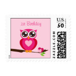 Cute Pink Owl with Heart - First Birthday Postage