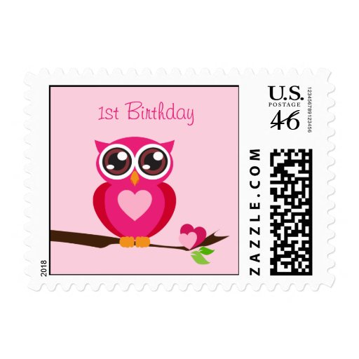 Cute Pink Owl with Heart - First Birthday Postage Stamp