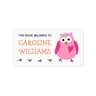Cute pink owl with heart girls bookplate book