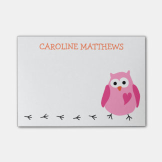 Cute pink owl with heart girls personalized name post-it notes