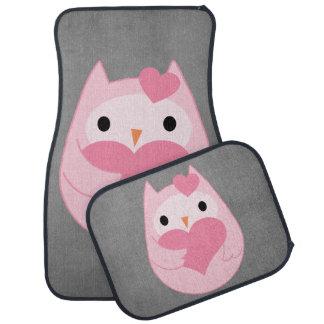 Cute Pink Owl with Heart Car Mat