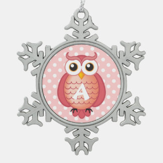 Cute Pink Owl with Monogram Snowflake Pewter Christmas Ornament