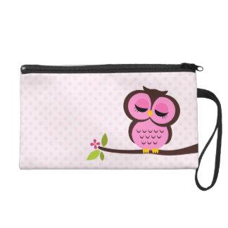 Cute Pink Owl Wristlet