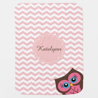 Cute Pink Owl Zigzag Pattern Custom Baby Blanket Stroller Blanket