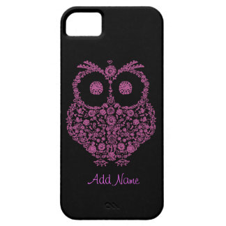 CUTE PINK OWLI Phone 5 CASE ON BLACK BACKGROUND