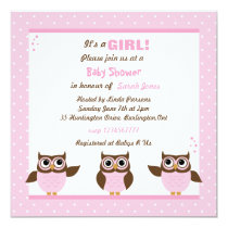 Cute Pink Owls It's a Girl Baby Shower Invitations