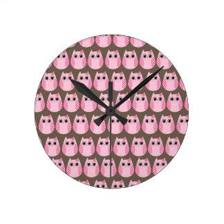 Cute Pink Owls Kitchen Decor Accessories Round Clock